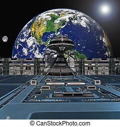 estação, futurista, espaço