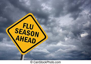 estação, gripe, à frente