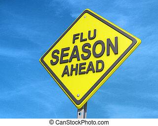 estação, gripe, à frente, sinal rendimento