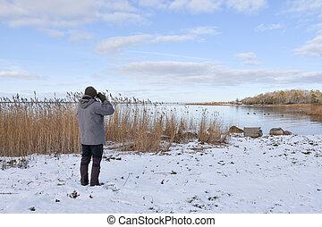 estação, inverno, birder, baía