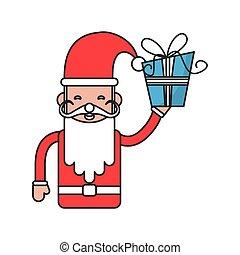 estação, isolado, caricatura, desenho, santa, natal