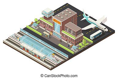 estação, isometric, conceito, aeroporto, metro