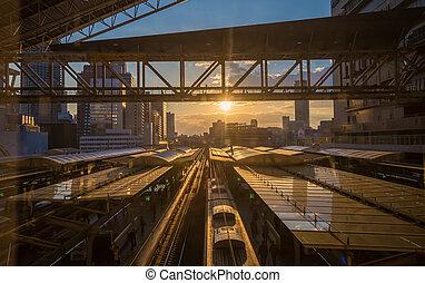 estação, japão, osaka, pôr do sol, estrada ferro