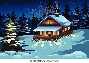 estação, madeiras, inverno, cabana, durante