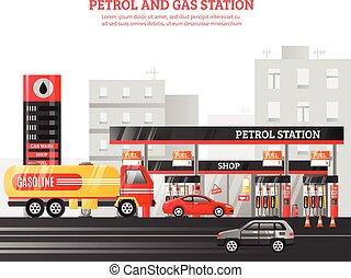 estação petrol, gás, ilustração