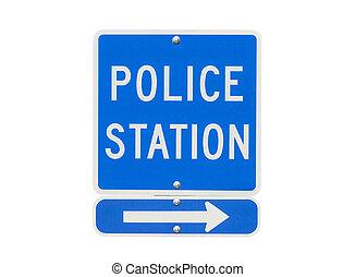 estação, polícia, isolado, sinal