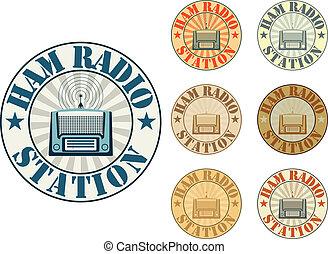 estação, rádio, presunto
