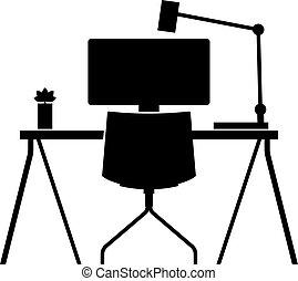 estação trabalho, computador, escrivaninha
