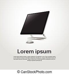 estação trabalho, modernos, computador desktop, logotipo, ícone