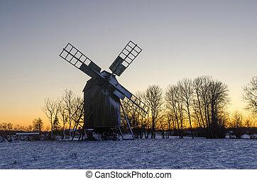 estação, tradicional, inverno, moinho de vento, madeira, pôr do sol