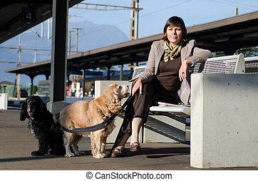 estação, trem, assento mulher