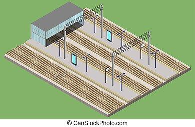 estação, urbano, isometric, infraestrutura, estrada ferro