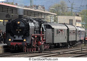 estação velha trem, alemanha, koblenz, vapor