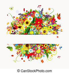 estações, cartão, buquê floral, presente, quatro, desenho