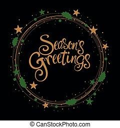 estações, saudação, texto, cartão natal