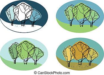 estações, vetorial, árvore, ilustração