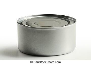 estaño, blanco, aislado, plano de fondo, lata