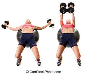 estabilidad, pelota, ejercicio