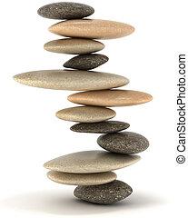 estabilidad, y, zen, equilibrado, torre de piedra