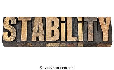 estabilidade, palavra, em, letterpress, tipo