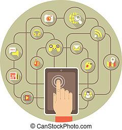 establecimiento de una red, tableta, social