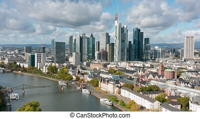 Aerial footage of the Skyline of Frankfurt a. Main