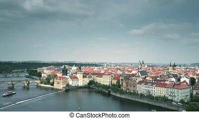 Establishing aerial shot of Prague involving Vltava riverbank, the Czech Republic