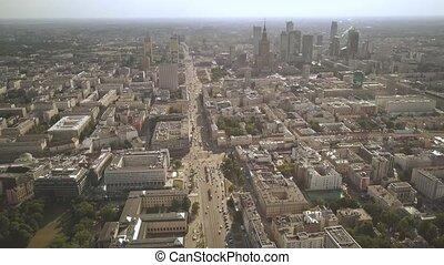 Establishing aerial shot of Warsaw, Poland - Establishing...