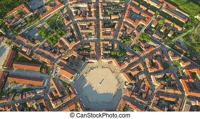 Establishing aerial view of star-shape town of Palmanova,...