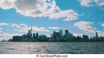 Establishing daytime shot of the Toronto skyline.