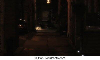 Establishing shot of a dark alleyway - 4K UHD footage of a...