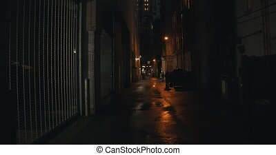 Establishing shot of a dark alleyway at night. Atmospheric...