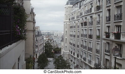 Establishing shot of a residential area in Paris, France - A...