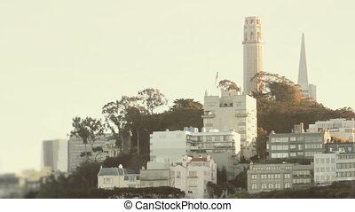 Establishing shot of Telegraph Hill in San Francisco....