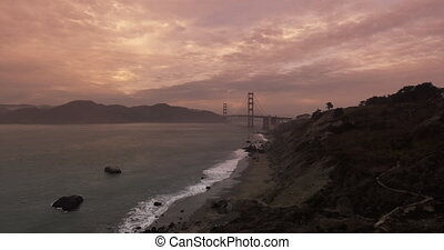 Establishing shot of the Golden Gate Bridge.