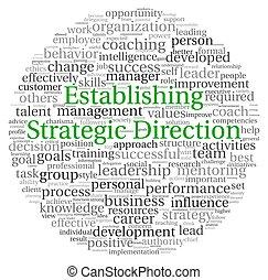 Establishing Strategic Direction concept in word tag cloud