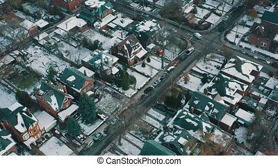 establishing, voisinage, aérien, toronto, snowfall., coup,...