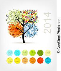 estación, árbol, cuatro, diseño, 2014, calendario, su