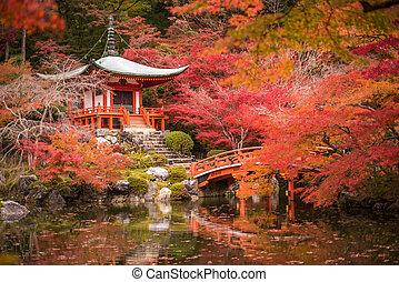 estación, árboles, kyoto, momiji, daigoji, japón, templo, ...