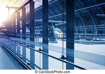estación, arte, moderno, ferrocarril