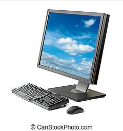 estación de trabajo, computadora, aislado