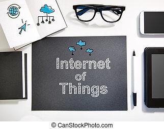 estación de trabajo, concepto, cosas, negro, internet, blanco