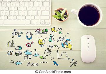 estación de trabajo, concepto, creatividad