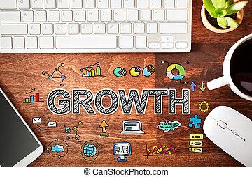 estación de trabajo, concepto, crecimiento
