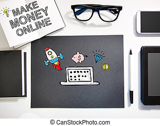 estación de trabajo, concepto, dinero, marca, negro, en línea, blanco