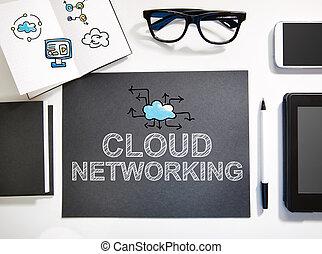 estación de trabajo, concepto, establecimiento de una red, negro, nube blanca