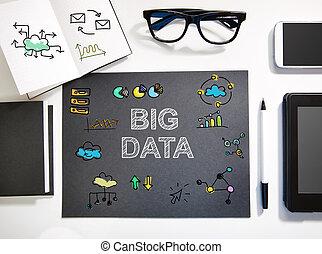 estación de trabajo, concepto, grande, negro, blanco, datos