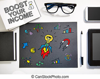 estación de trabajo, concepto, negro, ingresos, blanco, alza, su