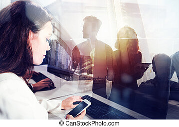 estación de trabajo, concepto, primer plano., oficinacomercial, gente, doble, trabajo, partnership., juntos, trabajo en equipo, efectos, luz, exposición