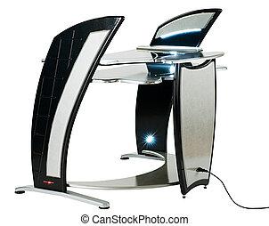 estación de trabajo, moderno, computadora, o, escritorio